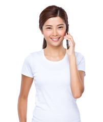 Woman talk to cell phone