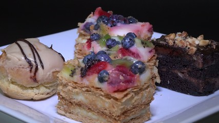 Assorted pastries or sweets in a plate