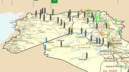 Map of the conquest of the Islamic state in Iraq and Syria