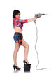 girl holding electric drill