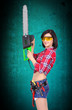 girl with chainsaw