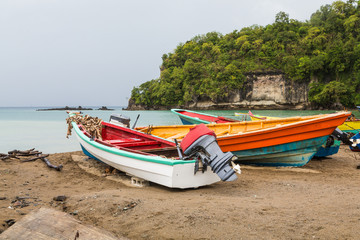 Colorful Fishing Boats on St Lucia Beach
