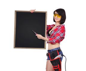 woman holding blank chalkboard