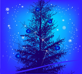 dark fir and snowflakes on blue background