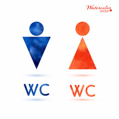 Watercolor signs - toilet, changing room, male, female, wc