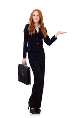 Woman businesswoman in business concept isolated on white