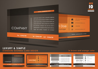Luxury and simple business card in brown and orange color