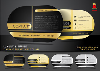 Rounded business card design in black and gold color
