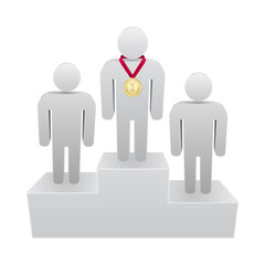 first place podium 3d - person with medal
