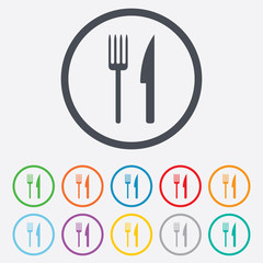 Eat sign icon. Cutlery symbol. Fork and knife.