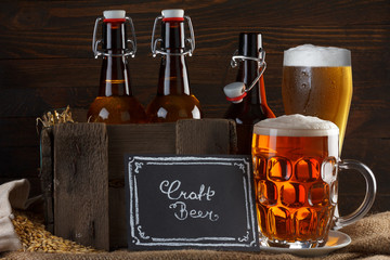 Craft beer glass and vintage wooden crate