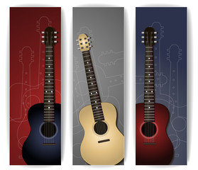 Colorful music banners with guitar illustration collection