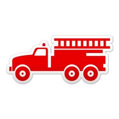 Pegatina simbolo rojo camion de bomberos
