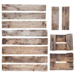 Weathered old wooden planks with rustic nails isolated