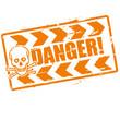 Stempel Danger und Gefahr mit Schädel
