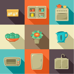Flat icons with household objects.