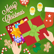 Flat Style Christmas Vector Card or Background