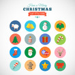 Flat Style Christmas Vector Icon Set With Gift Box Santa Candle