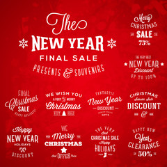 Christmas and New Year Vintage Typography Labels Holidays Sales