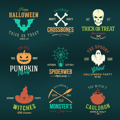 Vintage Typography Halloween Vector Color Badges or Logos