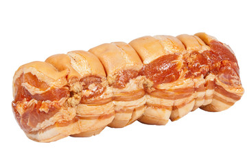 Isolated Left View of Uncooked Rolled Pork Roast on White