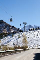 mountain road to the ski resort Chymbulak