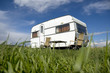caravan camping with table and two chars - 71476435