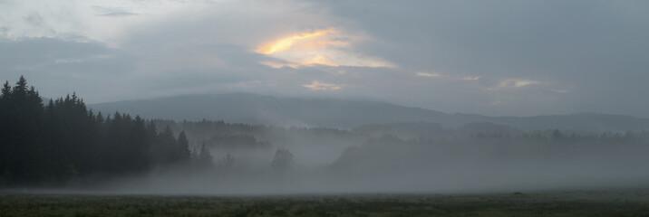 panorama Bohemian forest Sumava near Srni village
