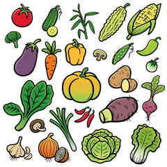 Vector Illustration of Cartoon vegetable set
