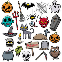 Vector Illustration of Halloween set