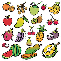 Vector illustration of Fruits set