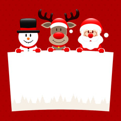Snowman, Rudolph & Santa Wishlist Dots Red