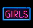 Girls neon sign illuminated over dark background