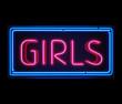 Girls neon sign illuminated over dark background