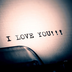 """I love you"" message typed by vintage typewriter"