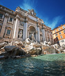Trevi Fountain (Vintage style). Rome - Italy.