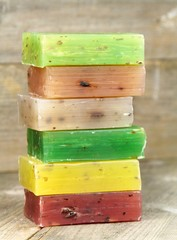 Stacked colorful natural herbal soaps