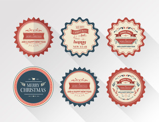 Stylish merry christmas message badges vector