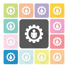 Gear people Icon color set vector illustration