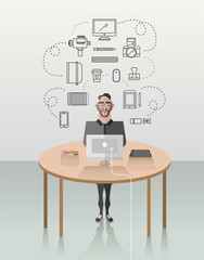 Hipster businessman working at his desk vector