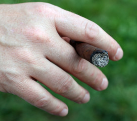 Avid smoker's hand while holding the cigar