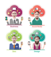 Stylish various company positions vector