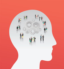 Cogs and wheels in head with business people vector