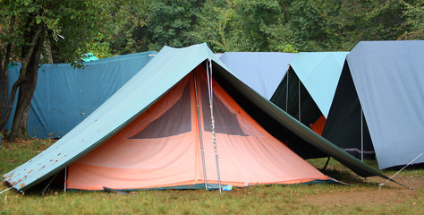 large green tents in occasional camping
