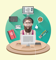 Hipster working at his desk vector