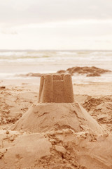Sandcastle on the beach.