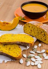 Pumpkin bread, selective focus