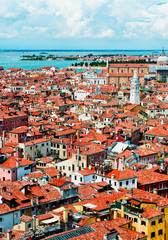 Panoramic view of Venice from San Marco bell tower, Italy
