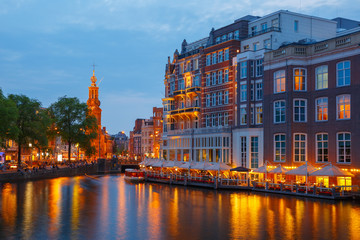 Night city view of Amsterdam canal,  and bridge