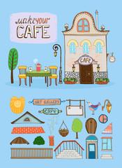 Cafe house illustration